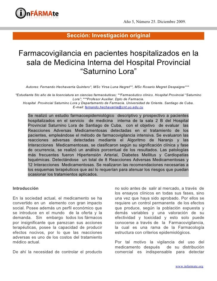 Año 5, Número 25. Diciembre 2009.                                     Sección: Investigación original      Farmacovigilanc...