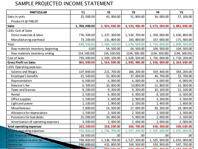projected financial statement