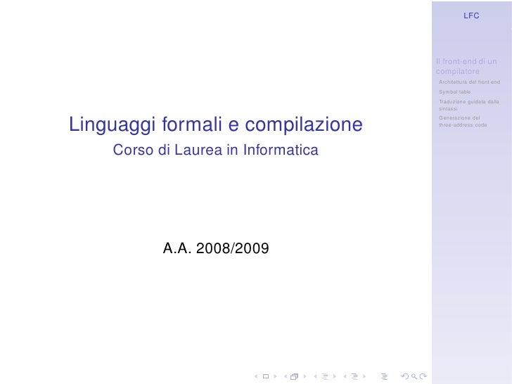 LFC                                          Il front-end di un                                      compilatore          ...
