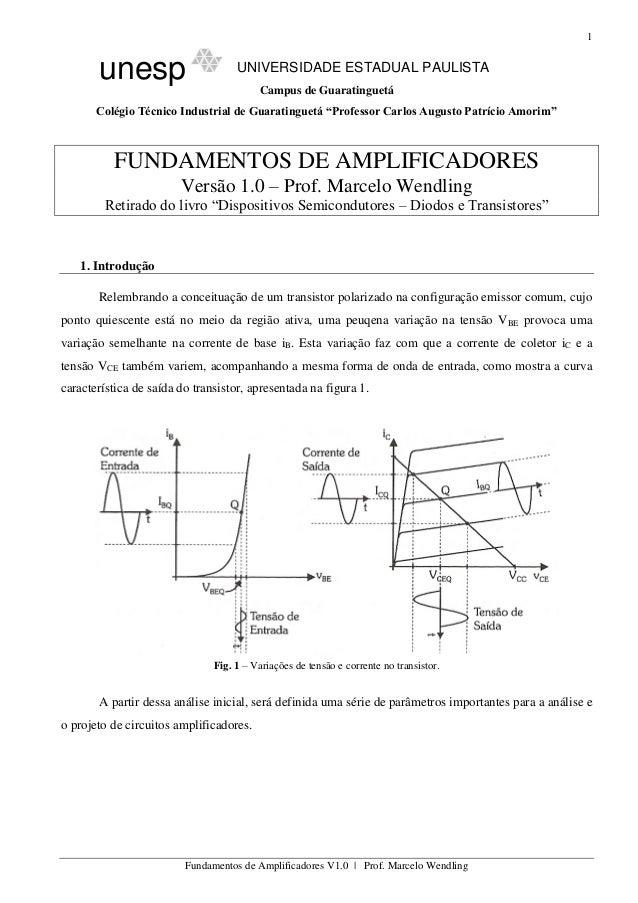 1 Fundamentos de Amplificadores V1.0 | Prof. Marcelo Wendling unesp UNIVERSIDADE ESTADUAL PAULISTA Campus de Guaratinguetá...