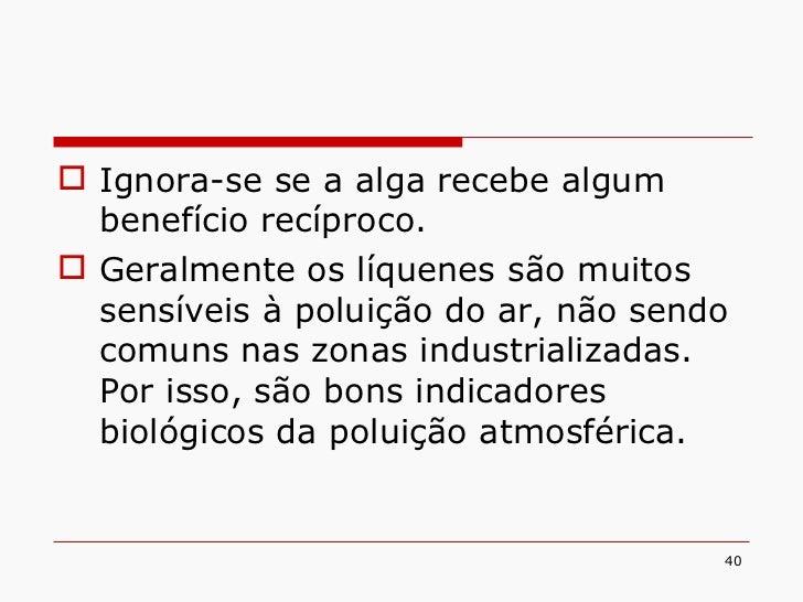 <ul><li>Ignora-se se a alga recebe algum benefício recíproco. </li></ul><ul><li>Geralmente os líquenes são muitos sensívei...