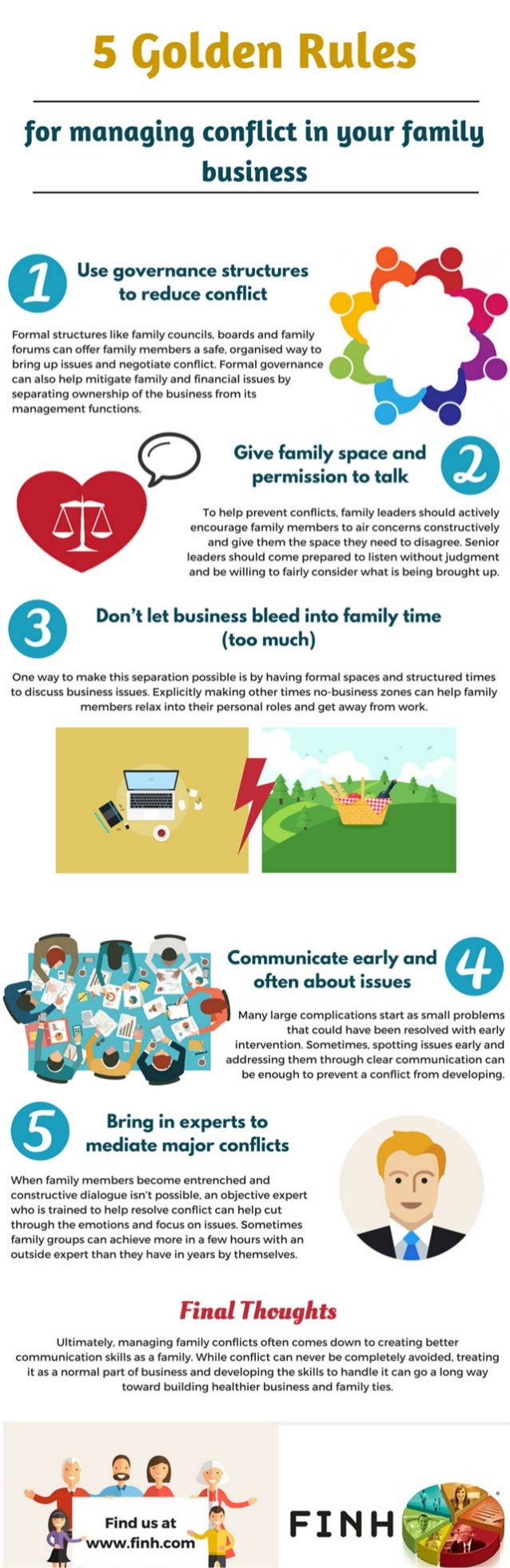 5 Golden Rules  for managing conflict in your family business  Use governance structures to reduce conflict     Formal str...