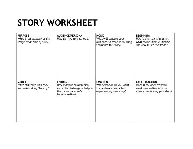 STORY WORKSHEET PURPOSE What is the purpose of the story? What type of story? AUDIENCE/PERSONA Why do they care (or not)? ...