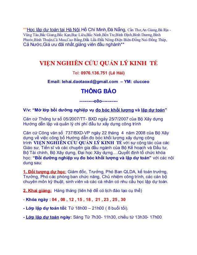 **Học lập dự toán tại Hà Nội,Hồ Chí Minh,Đà Nẵng, Cần Thơ,An Giang,Bà Rịa -Vũng Tàu,Bắc Giang,Bắc Kạn,Bạc Liêu,Bắc Ninh,Bế...