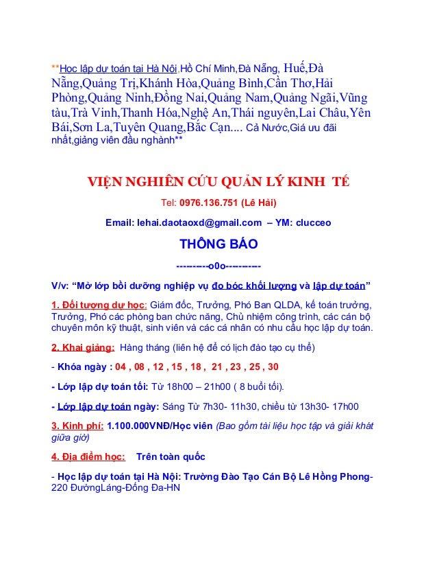 Huế,Đà**Học lập dự toán tại Hà Nội,Hồ Chí Minh,Đà Nẵng,Nẵng,Quảng Trị,Khánh Hòa,Quảng Bình,Cần Thơ,HảiPhòng,Quảng Ninh,Đồn...