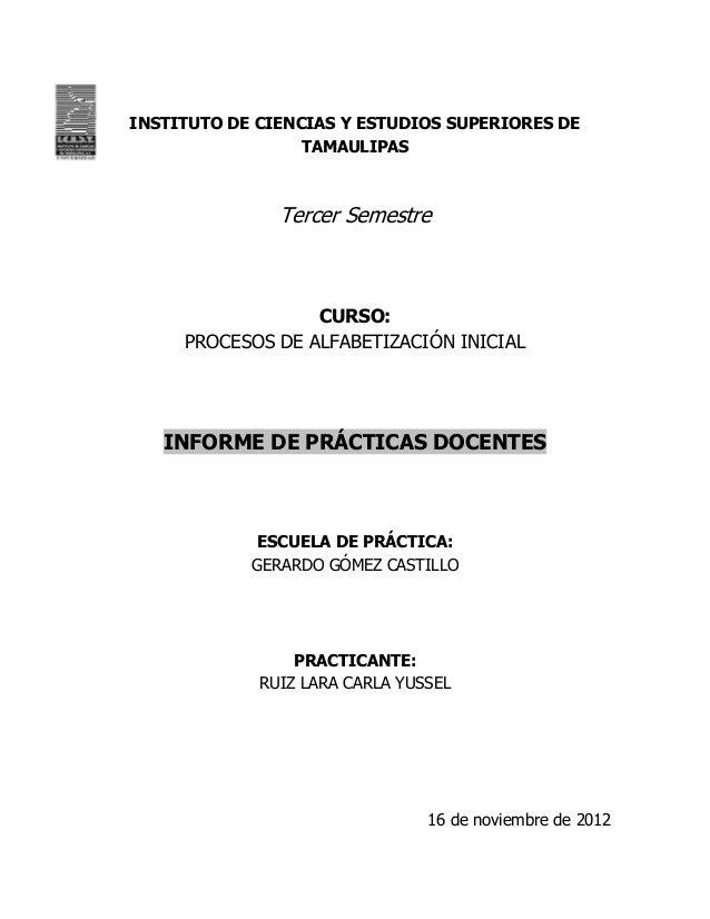 INSTITUTO DE CIENCIAS Y ESTUDIOS SUPERIORES DE                  TAMAULIPAS               Tercer Semestre                  ...