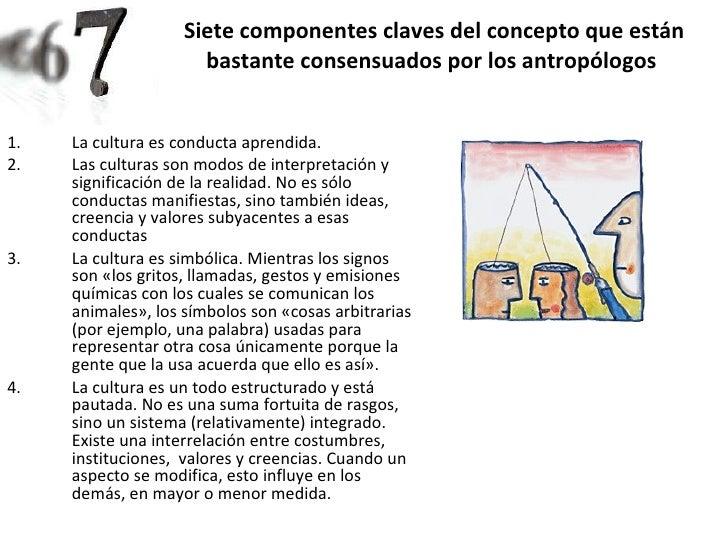 Siete componentes claves del concepto que están bastante consensuados por los antropólogos   <ul><li>La cultura es conduct...