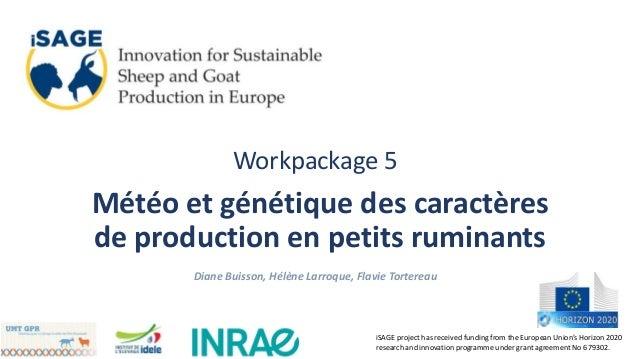 Workpackage 5 Météo et génétique des caractères de production en petits ruminants Diane Buisson, Hélène Larroque, Flavie T...