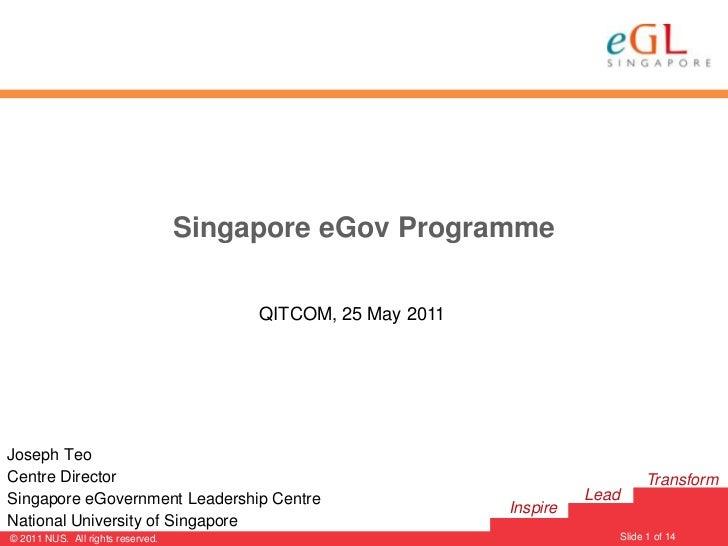 Singapore eGov Programme                                        QITCOM, 25 May 2011Joseph TeoCentre Director              ...