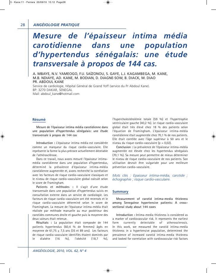 5 - Kane:11 - Ferrara 20/09/10 15:12 Page28       28        ANGÉIOLOGIE PRATIQUE                 Mesure de l'épaisseur int...