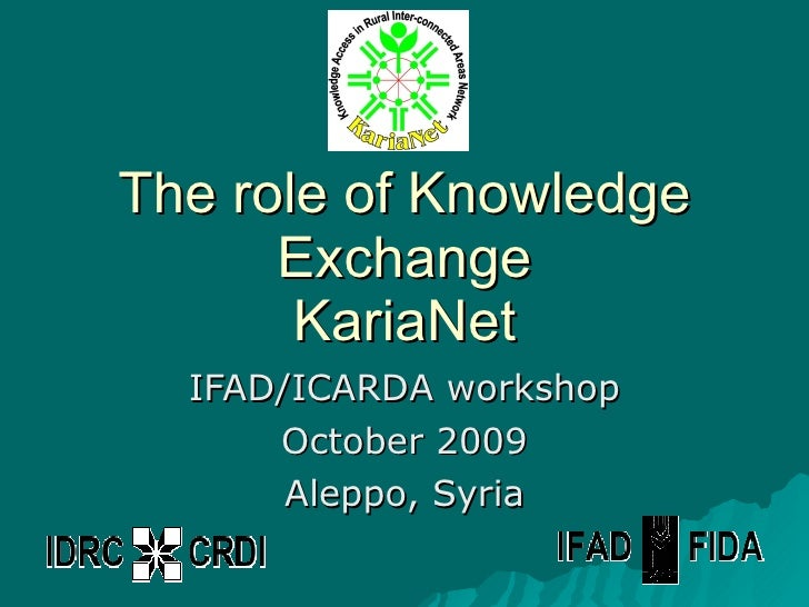 The role of Knowledge Exchange KariaNet IFAD/ICARDA workshop October 2009 Aleppo, Syria
