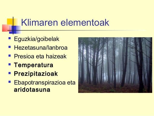 Klimaren elementoak  Eguzkia/goibelak  Hezetasuna/lanbroa  Presioa eta haizeak  Temperatura  Prezipitazioak  Ebapotr...