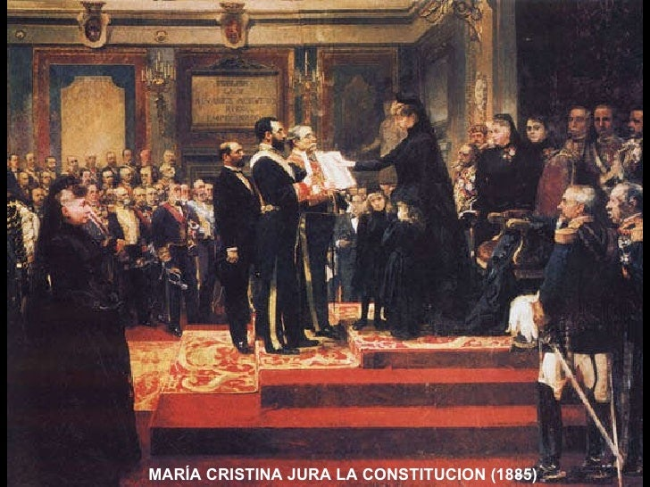MARÍA CRISTINA JURA LA CONSTITUCION (1885)
