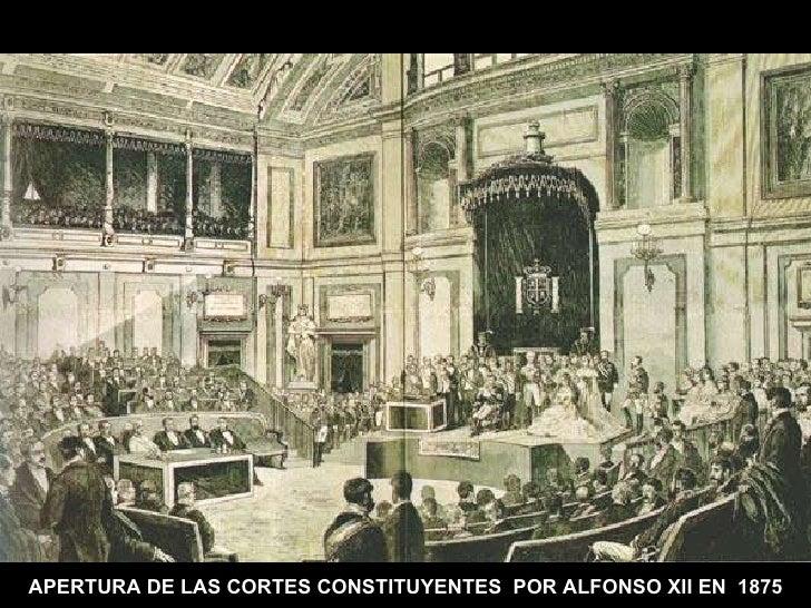 APERTURA DE LAS CORTES CONSTITUYENTES  POR ALFONSO XII EN  1875