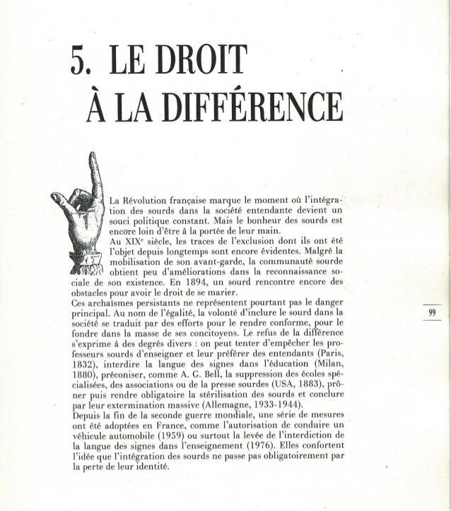 5 - Le droit à la différence