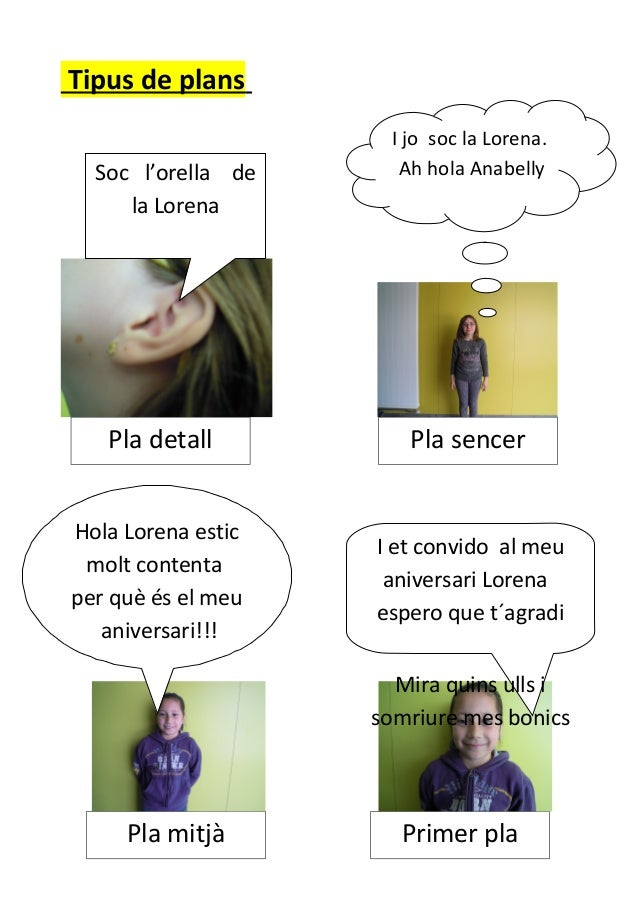 Tipus de plansllllPla sencerPla mitjà Primer plaPla detallSoc l'orella dela LorenaI jo soc la Lorena.Ah hola AnabellyHola ...
