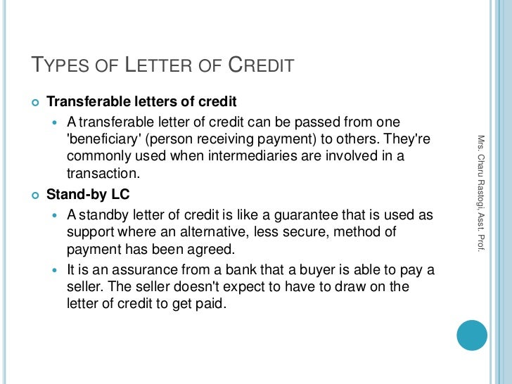 15. TYPES OF LETTER OF CREDIT ...