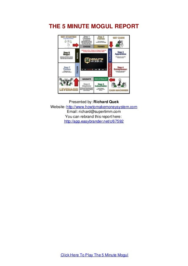 THE 5 MINUTE MOGUL REPORT Presented by: Richard Quek Website: http://www.howtomakemoneysystem.com Email: richard@supertimm...