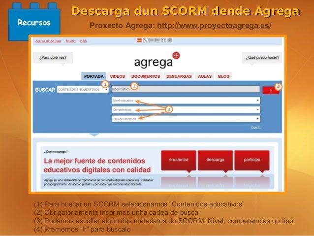 Descarga dun SCORM dende AgregaRecursos           Proxecto Agrega: http://www.proyectoagrega.es/   (1) Para buscar un SCOR...