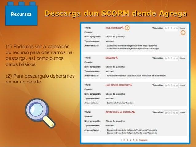Recursos       Descarga dun SCORM dende Agrega(1) Podemos ver a valoracióndo recurso para orientarnos nadescarga, así como...