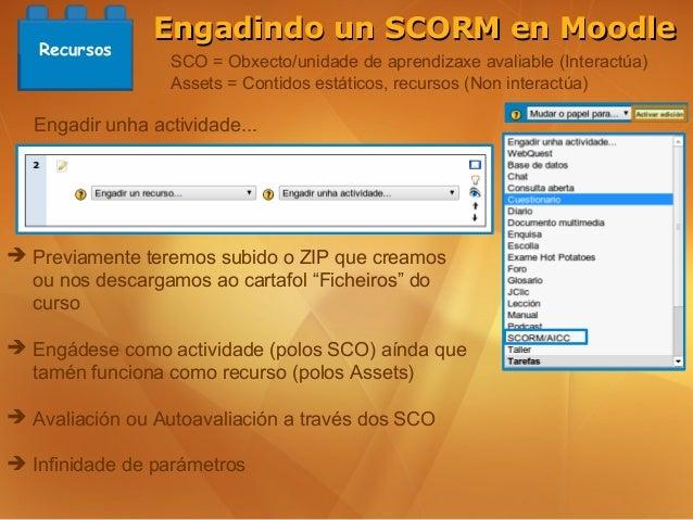 Engadindo un SCORM en Moodle   Recursos                 SCO = Obxecto/unidade de aprendizaxe avaliable (Interactúa)       ...