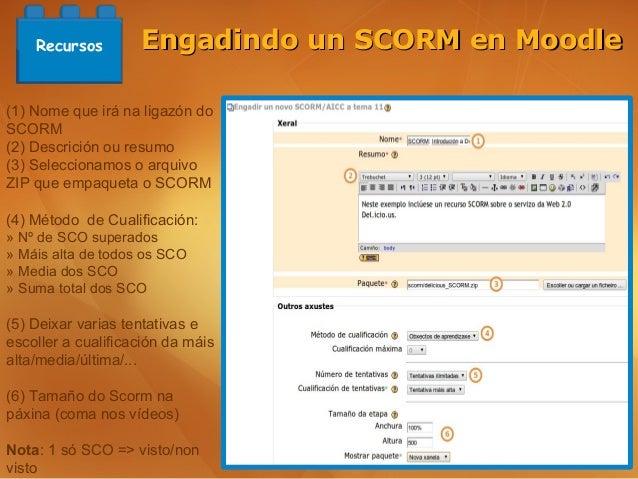 Recursos        Engadindo un SCORM en Moodle(1) Nome que irá na ligazón doSCORM(2) Descrición ou resumo(3) Seleccionamos o...