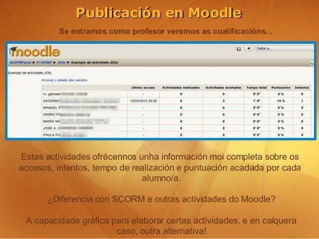 Publicación en Moodle         Se entramos como profesor veremos as cualificacións...Estas actividades ofrécennos unha info...