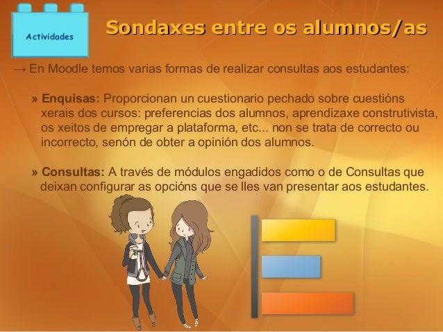Actividades                Sondaxes entre os alumnos/as→ En Moodle temos varias formas de realizar consultas aos estudante...