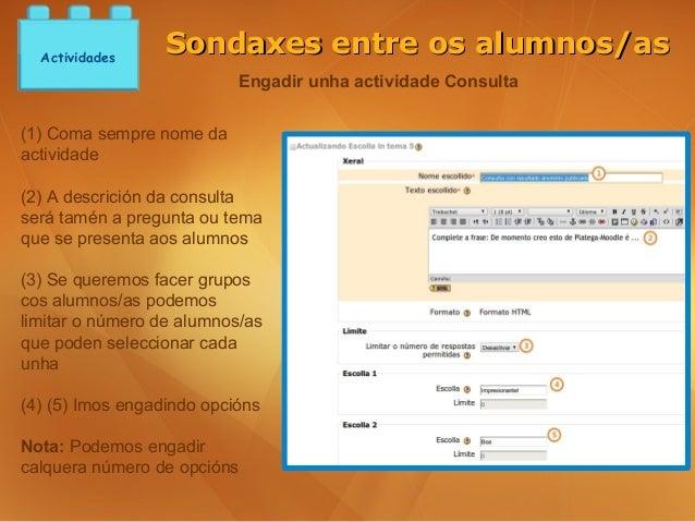Actividades                  Sondaxes entre os alumnos/as                           Engadir unha actividade Consulta(1) Co...