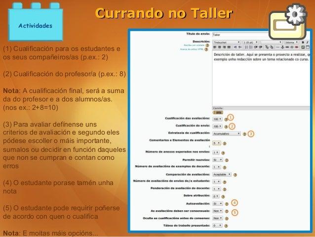 Currando no Taller     Actividades(1) Cualificación para os estudantes eos seus compañeiros/as (p.ex.: 2)(2) Cualificación...
