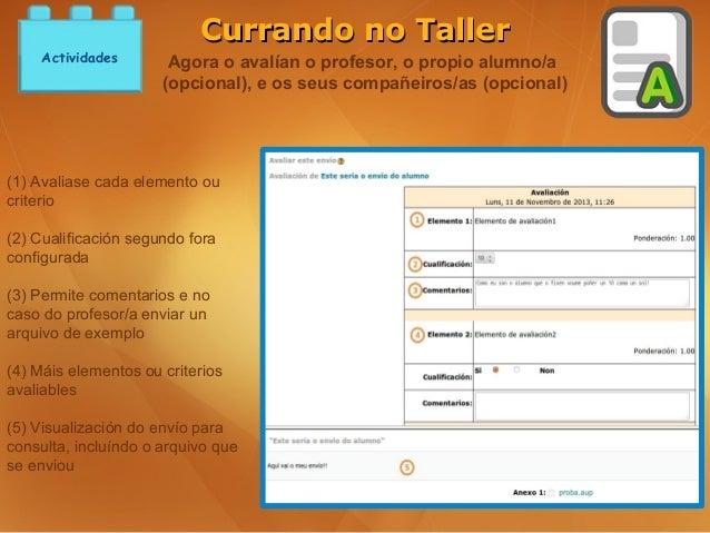 Currando no Taller    Actividades        Agora o avalían o profesor, o propio alumno/a                      (opcional), e ...