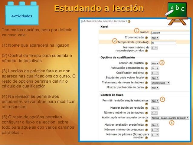 Estudando a lección    ActividadesTen moitas opcións, pero por defectoxa case vale...(1) Nome que aparecerá na ligazón(2) ...
