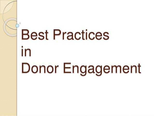 Best Practices in Donor Engagement
