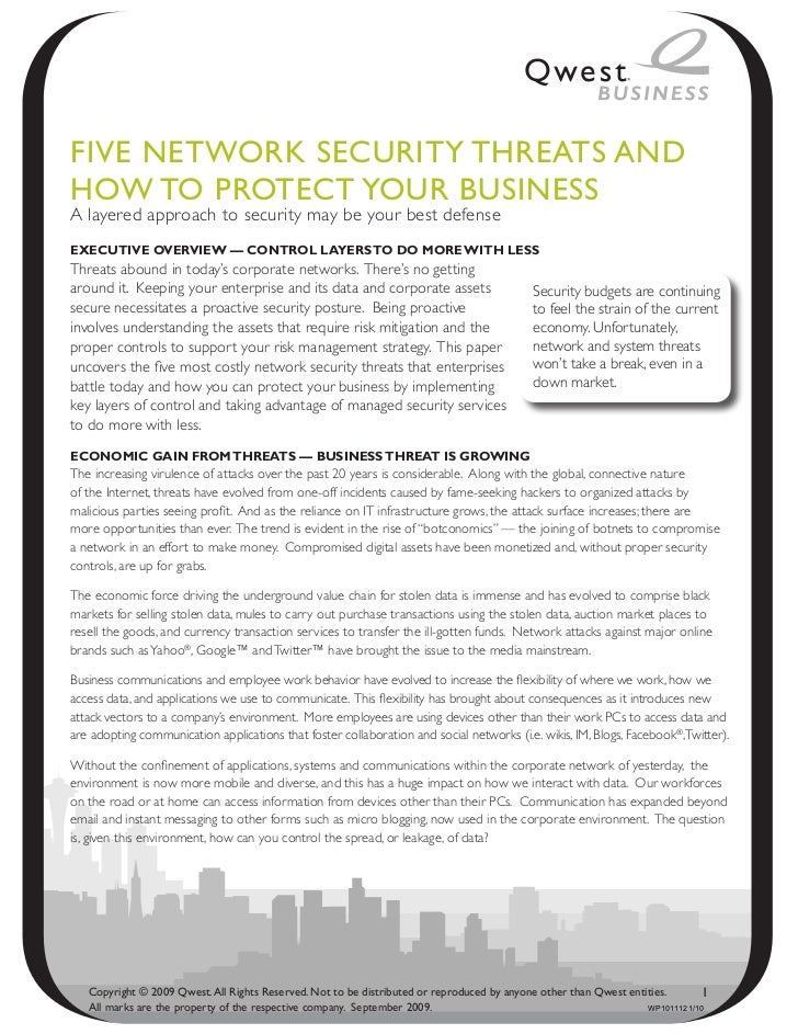 Five NetwoRk SeCuRity thReAtS ANdhow to PRoteCt youR BuSiNeSSA layered approach to security may be your best defenseExEcut...