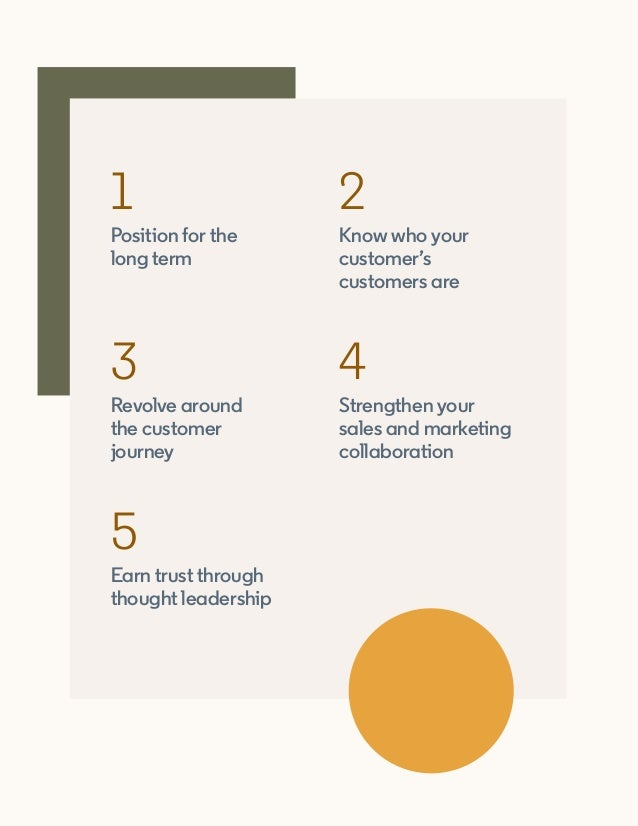 Position for the long term 1 Revolve around the customer journey 3 Earn trust through thought leadership 5 Know who your c...