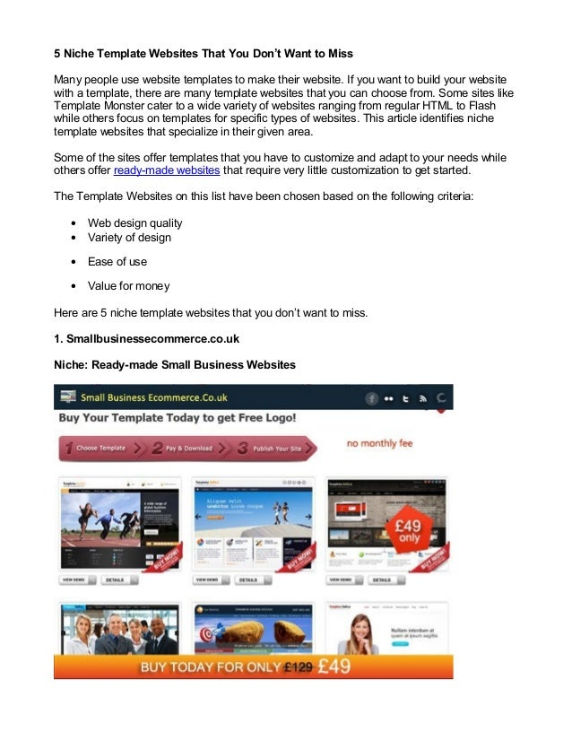 5 Niche Template Websites That You Don't Want to MissMany people use website templates to make their website. If you want ...