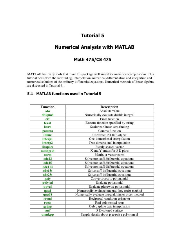 MATLAB has many tools that make this package well suited for numerical computations. This tutorial deals with the rootfind...