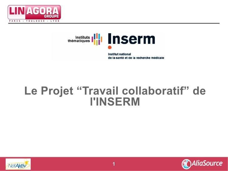 """Groupe     Le Projet """"Travail collaboratif"""" de             l'INSERM                      1"""