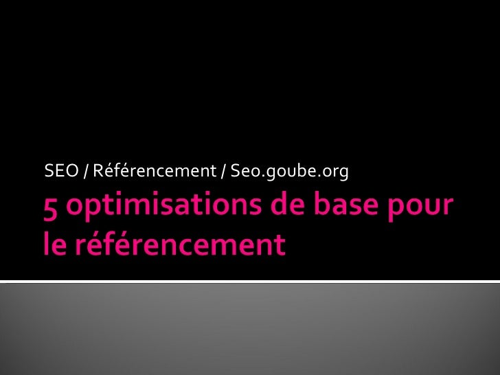 SEO / Référencement / Seo.goube.org