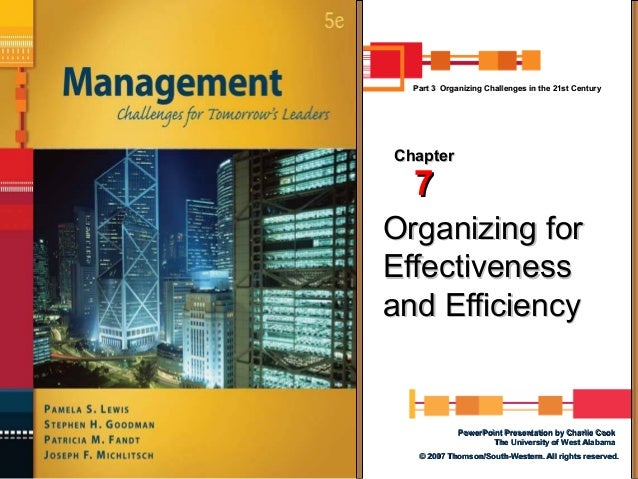 Part 3 Organizing Challenges in the 21st Century  Chapter  7  Organizing for Effectiveness and Efficiency  PowerPoint Pres...