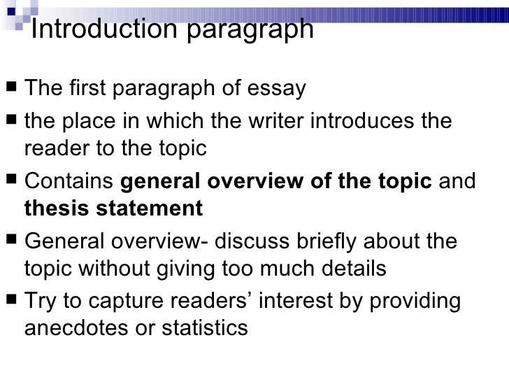first paragraph of an essay