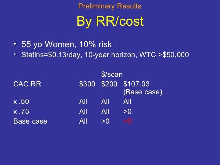 By RR/cost <ul><li>55 yo Women, 10% risk </li></ul><ul><li>Statins=$0.13/day, 10-year horizon, WTC >$50,000 </li></ul><ul>...