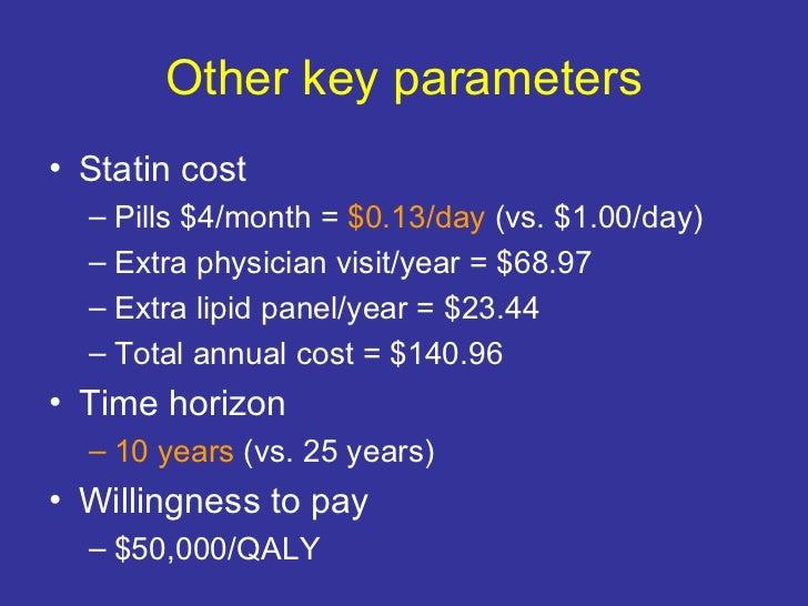 Other key parameters <ul><li>Statin cost </li></ul><ul><ul><li>Pills $4/month =  $0.13/day  (vs. $1.00/day) </li></ul></ul...