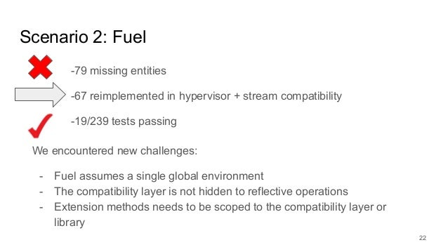 Scenario 2: Fuel -79 missing entities -67 reimplemented in hypervisor + stream compatibility -19/239 tests passing 22 We e...