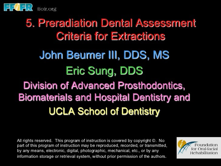 5. Preradiation Dental Assessment