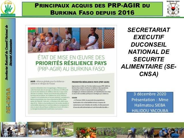 PRINCIPAUX ACQUIS DES PRP-AGIR DU BURKINA FASO DEPUIS 2016 SECRETARIAT EXECUTIF DUCONSEIL NATIONAL DE SECURITE ALIMENTAIRE...
