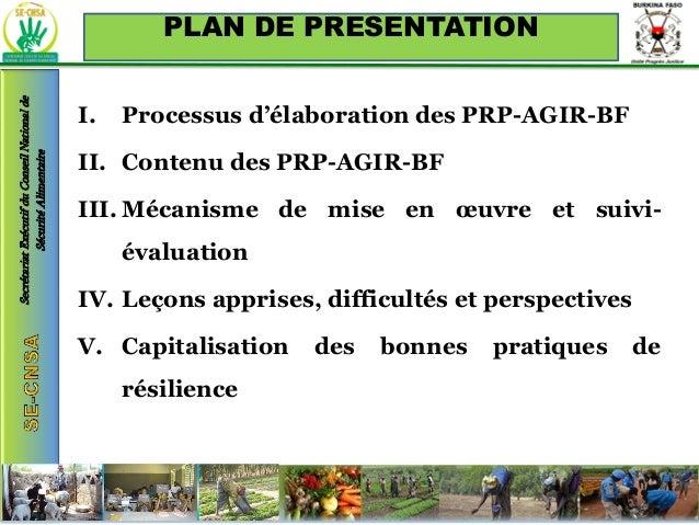 État de la mise en œuvre des « Priorités résilience pays » (PRP-AGIR) au Burkina Faso Slide 2