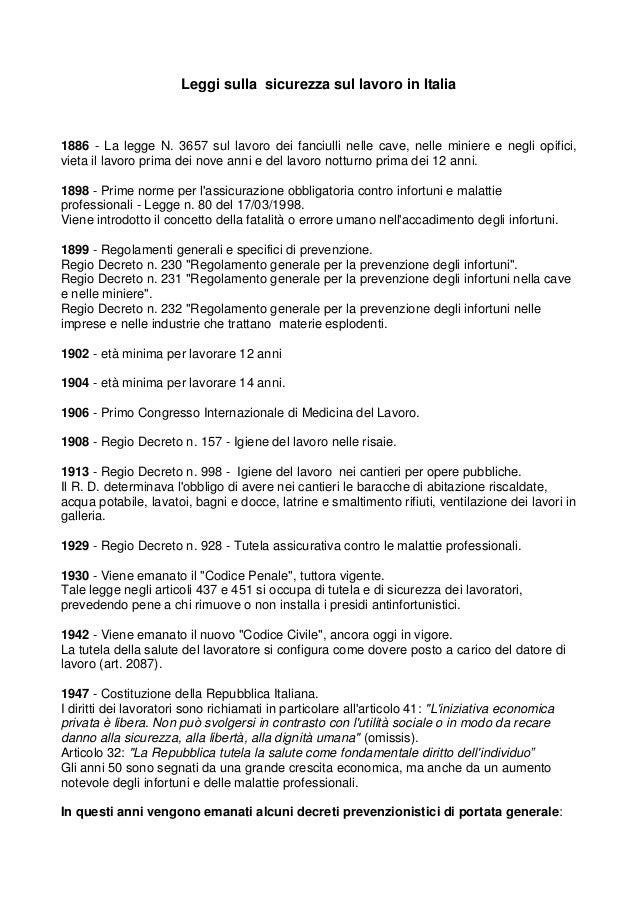 Leggi sulla sicurezza sul lavoro in Italia 1886 - La legge N. 3657 sul lavoro dei fanciulli nelle cave, nelle miniere e ne...