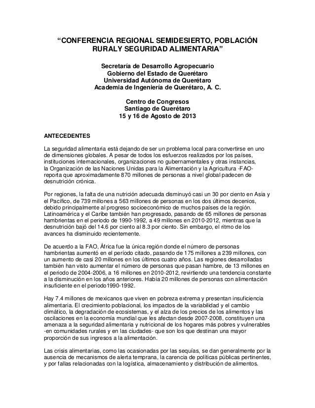 """""""CONFERENCIA REGIONAL SEMIDESIERTO, POBLACIÓNRURALY SEGURIDAD ALIMENTARIA""""Secretaría de Desarrollo AgropecuarioGobierno de..."""