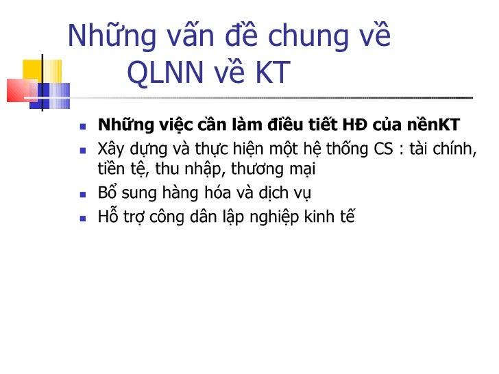Những vấn đề chung về  QLNN về KT